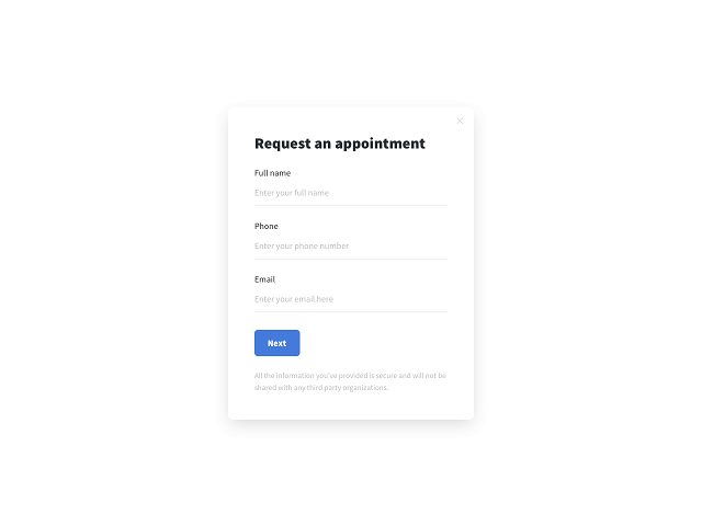 A Getsitecontrol live-preview appointment form example