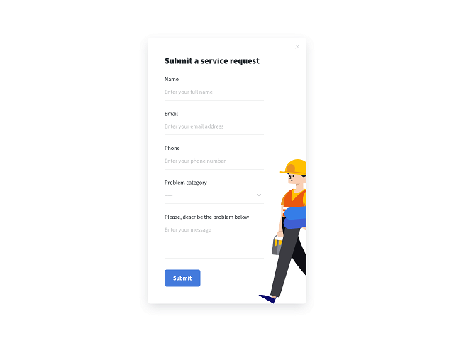 A live-preview service request form example powered by Getsitecontrol