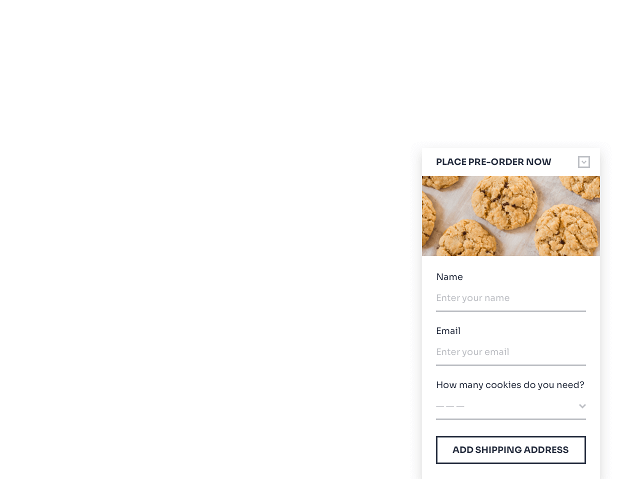 Cookie online order form example powered by Getsitecontrol