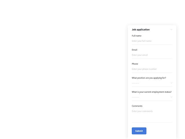 Job application form by Getsitecontrol