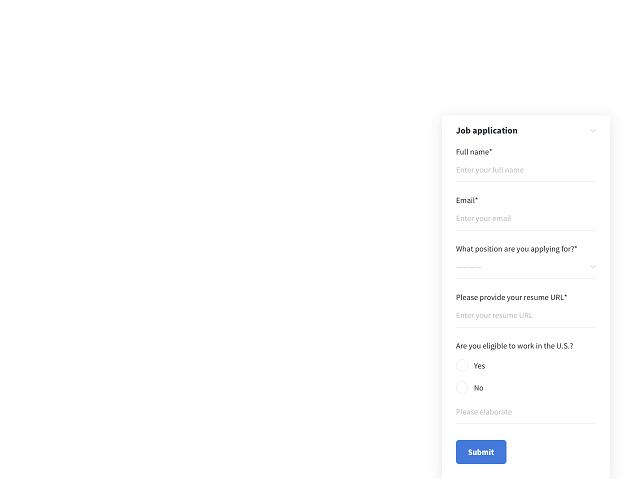 Short job application form example