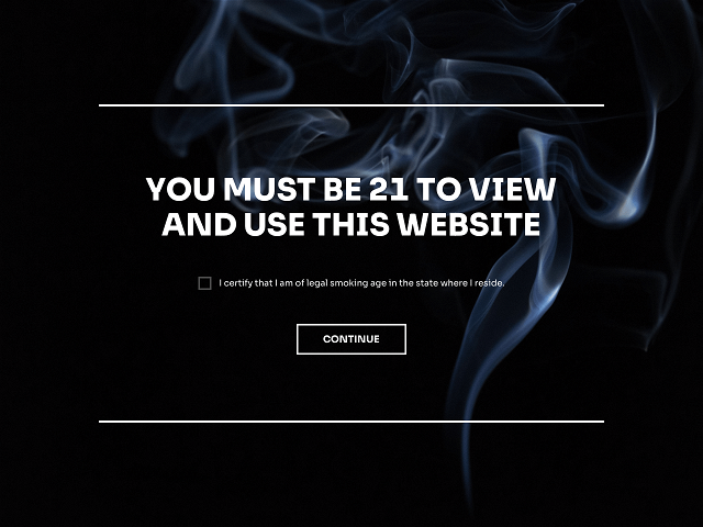 Age gate popup for a website with a mandatory age confirmation checkbox