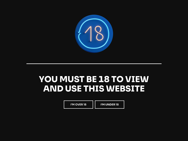 Age verification popup example with age confirmation and age denial buttons