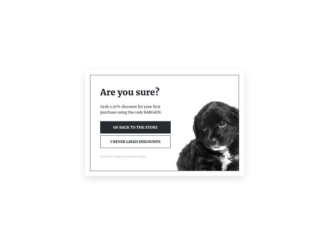 An exit-intent popup template featuring a discount offer by Getsitecontrol