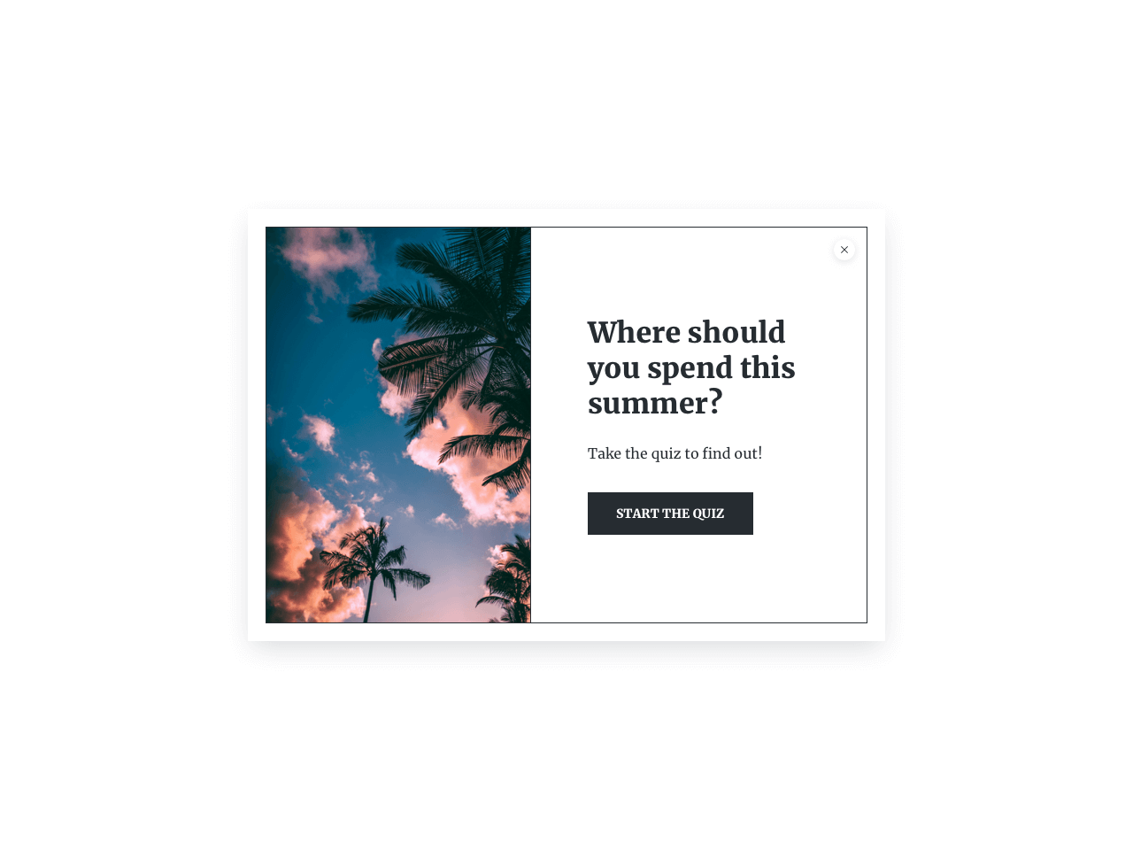 Survey welcome page example with a high-quality image to drive visitors' attention