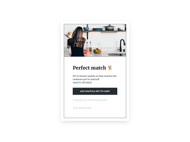 Cross-selling popup example that can be triggered by a product added to cart