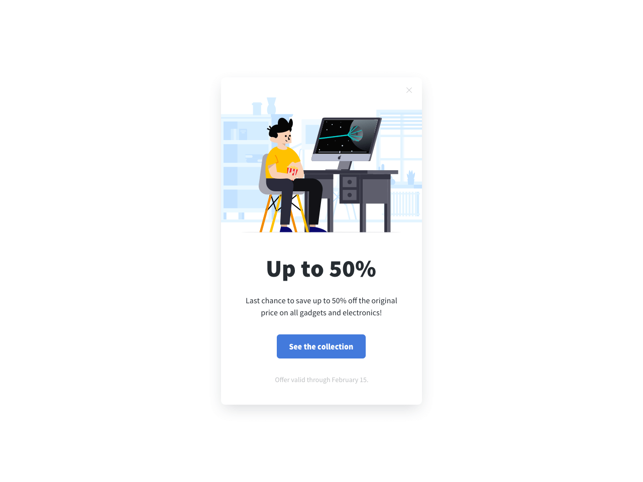 An example of an exit-intent popup form for ecommerce
