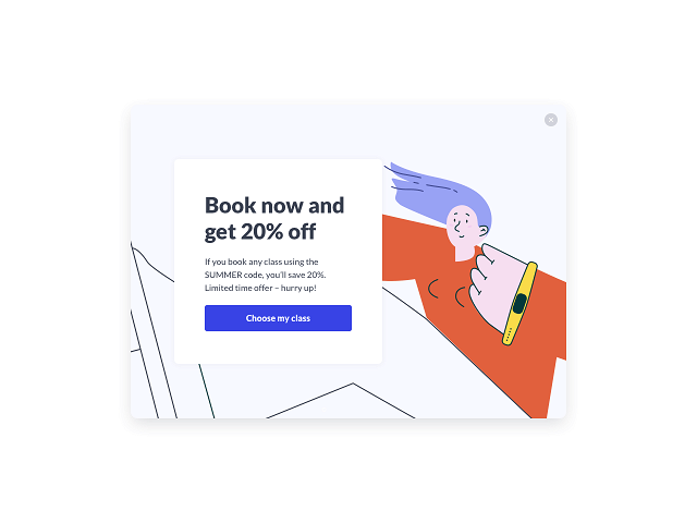 Pop-up add displaying a special limited-time deal