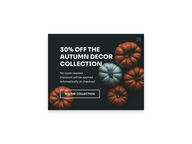 Holiday collection promotional popup example