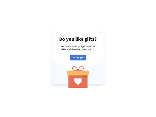 Welcome popup with a gift offer as a lead magnet