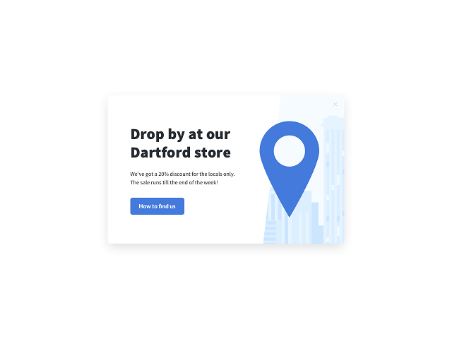 A popup targeted to visitors from Dartford inviting them to the local store