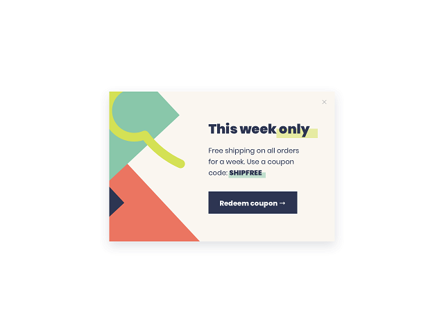 A modal popup for a Shopify store to announce news or special deals