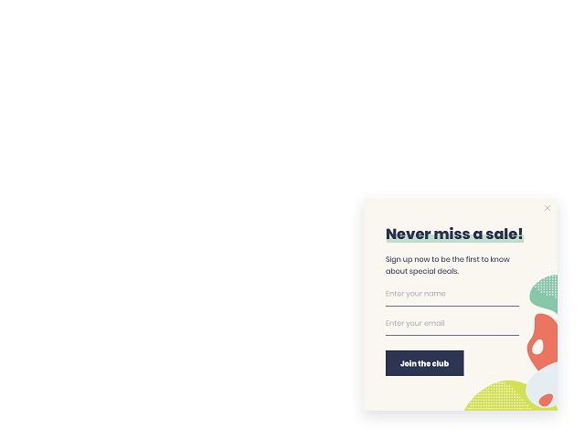 Email subscription form slide-in powered by Getsitecontrol