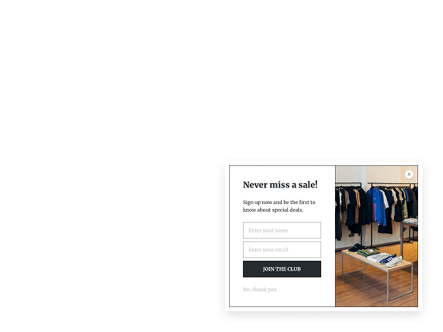 Email opt-in widget for Shopify sliding from the right-hand side of the page