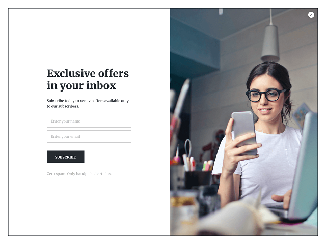 Email opt-in form to increase sales for eCommerce stores