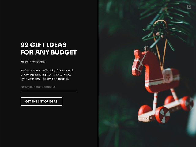 Holiday marketing idea- attract email subscribers by offering a list of gift ideas