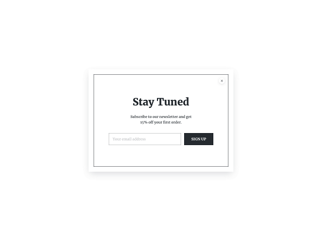 Minimalistic email list building popup powered by Getsitecontrol
