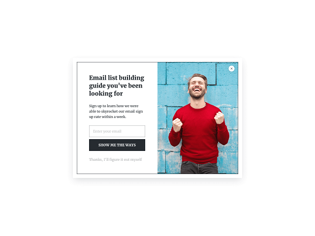 A website popup template with an image taking half of the space