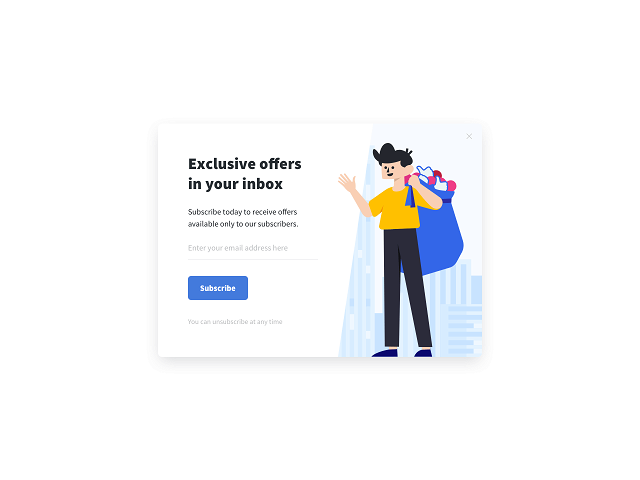 Getsitecontrol features an up-for-grabs email subscription popup that you can quickly add to your website and start collecting more emails