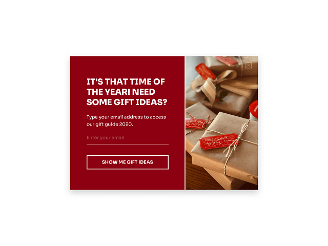 Use a gift guide as a part of your Christmas promotion campaign to collect email addresses and increase sales