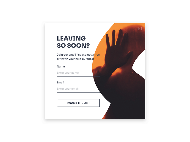 Shopify exit-intent popup offering a gift in exchange for an email subscription