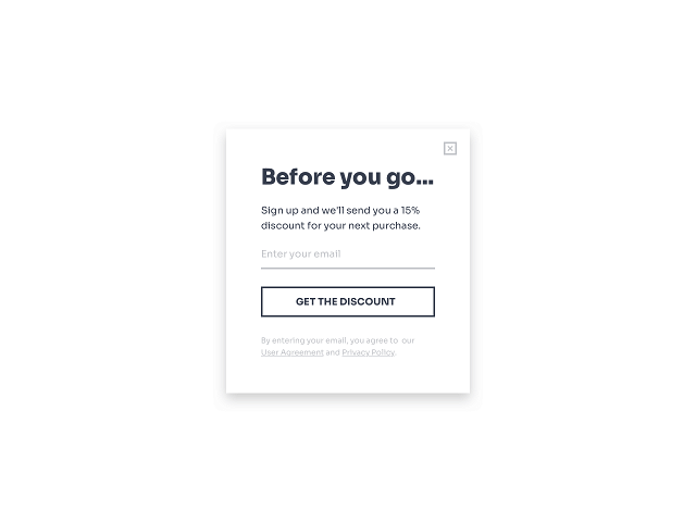 Shopify exit-intent popup with an email opt-in form