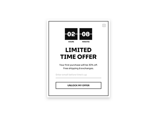 Scarcity email popup for Shopify featuring a countdown timer