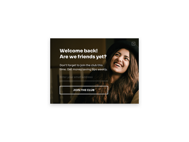 Welcome back email newsletter popup – Getsitecontrol example