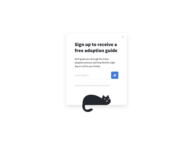Getsitecontrol opt-in form offering an animal adoption guide as a lead magnet