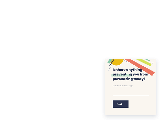 A simple purchase-related survey template by Getsitecontrol