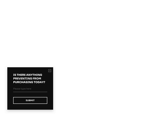 Pop-up survey example that helps you find out what prevents visitors from purchasing