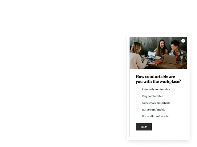 Employee satisfaction survey as a right side slide-in