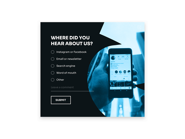 Website survey question to find out how visitors find your business