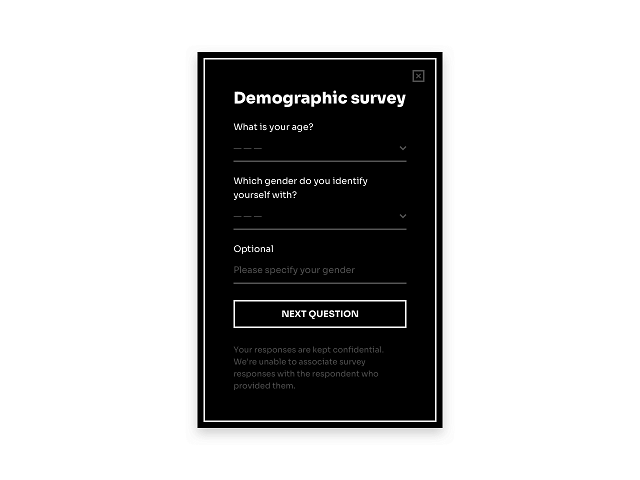 Product survey popup with checkboxes