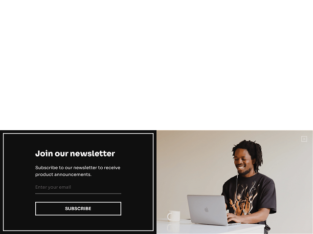 A Dip & Doze modal popup that offers discounts and collects emails