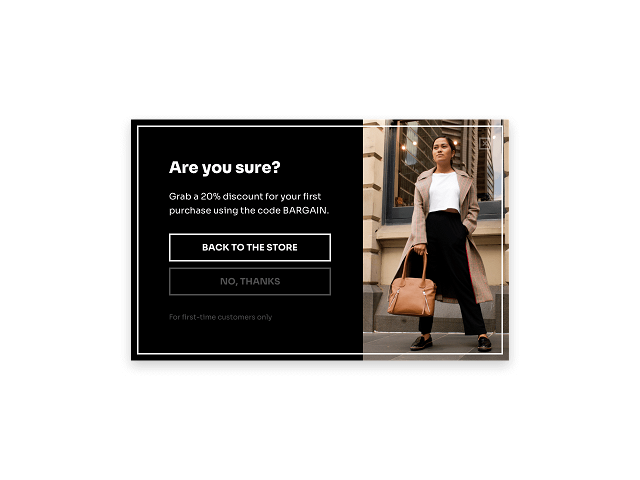 Use exit-intent popups to display discount codes before visitors leave your store