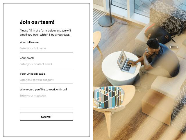 Fullscreen job application form powered by Getsitecontrol