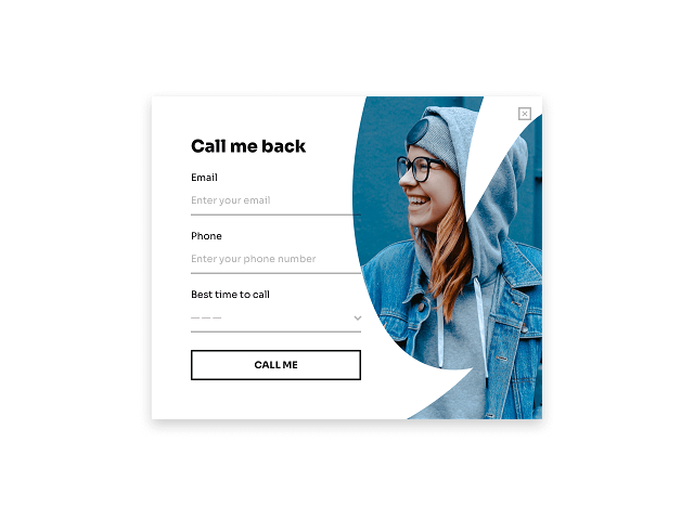 Light-themed callback request form template