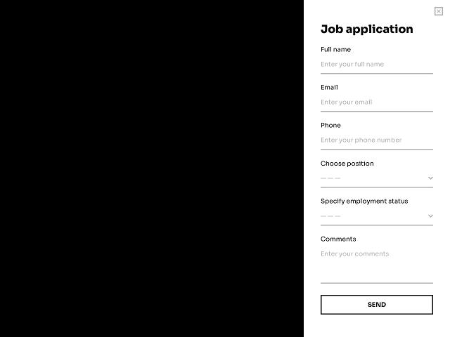 Sidebar job application form for a website