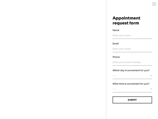 Sidebar appointment request form - template powered by Getsitecontrol