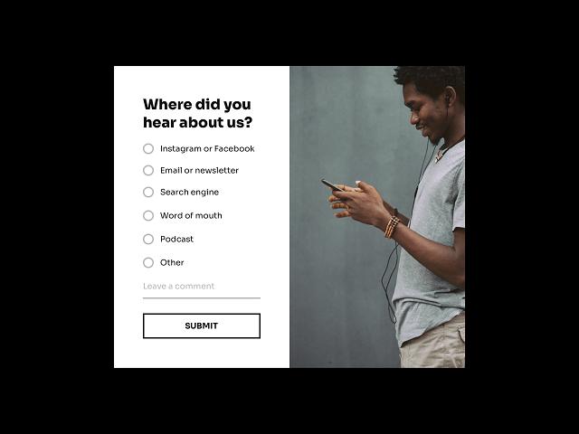 Order assistance survey popup for ecommerce websites