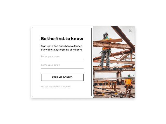 Pop-up email form designed for a Coming soon page