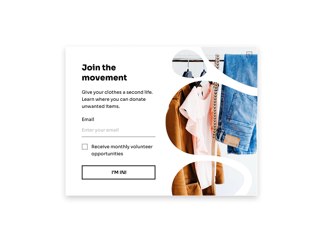 Donation call to action featured on an exit-intent popup