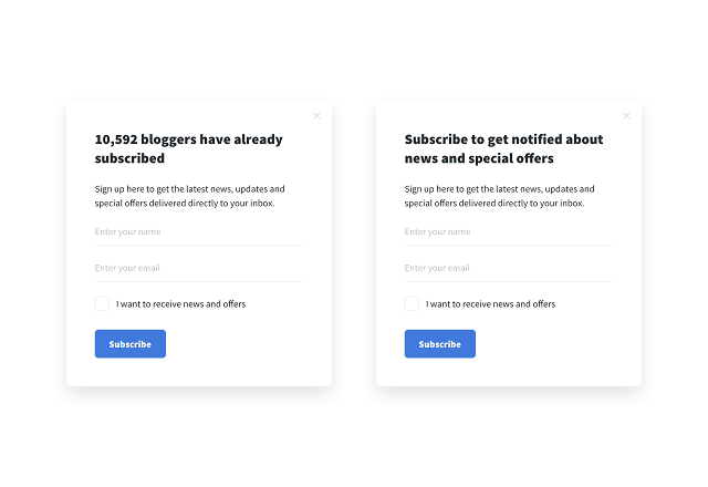 A/B testing email opt-in form copy
