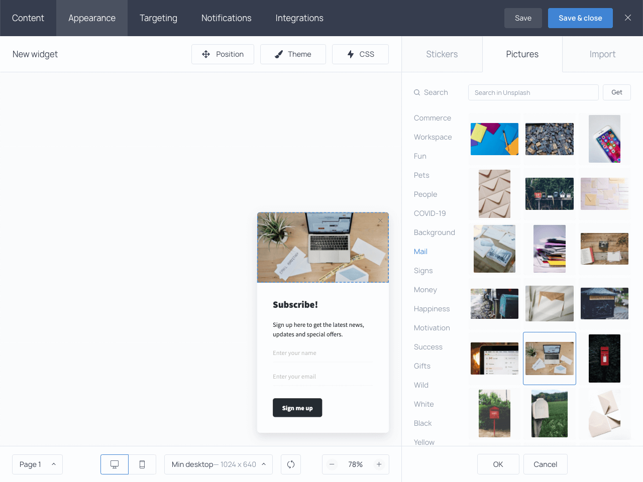 Choosing images from an extensive picture gallery in the Getsitecontrol admin dashboard