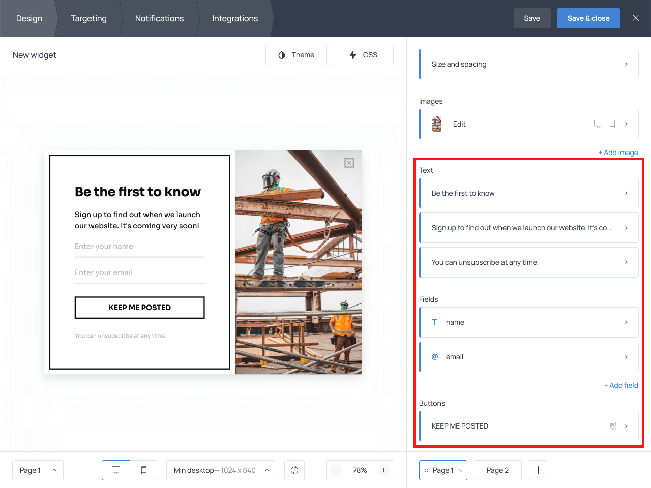 How to edit copy on an email signup form
