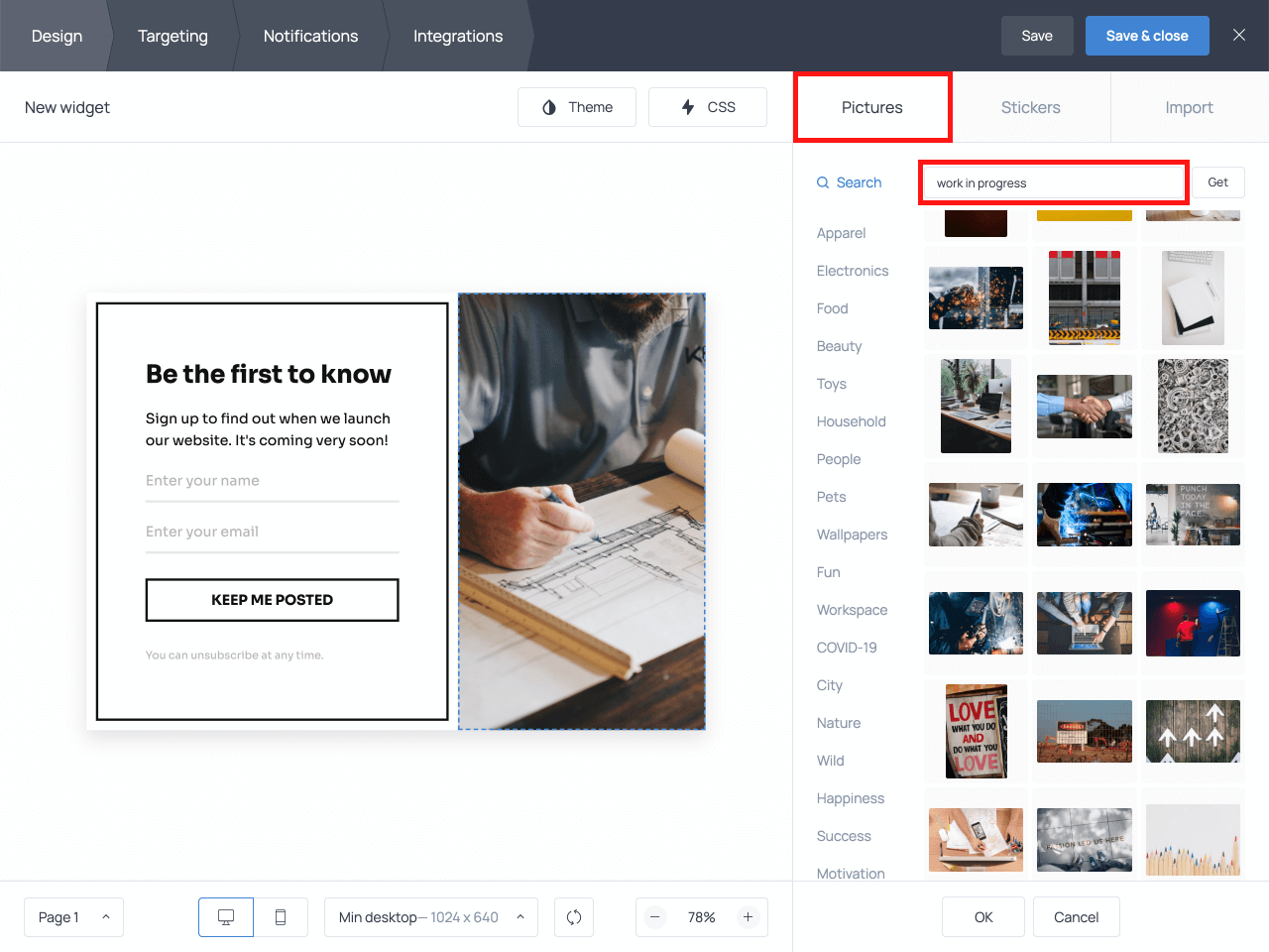 How to change an image on an email popup