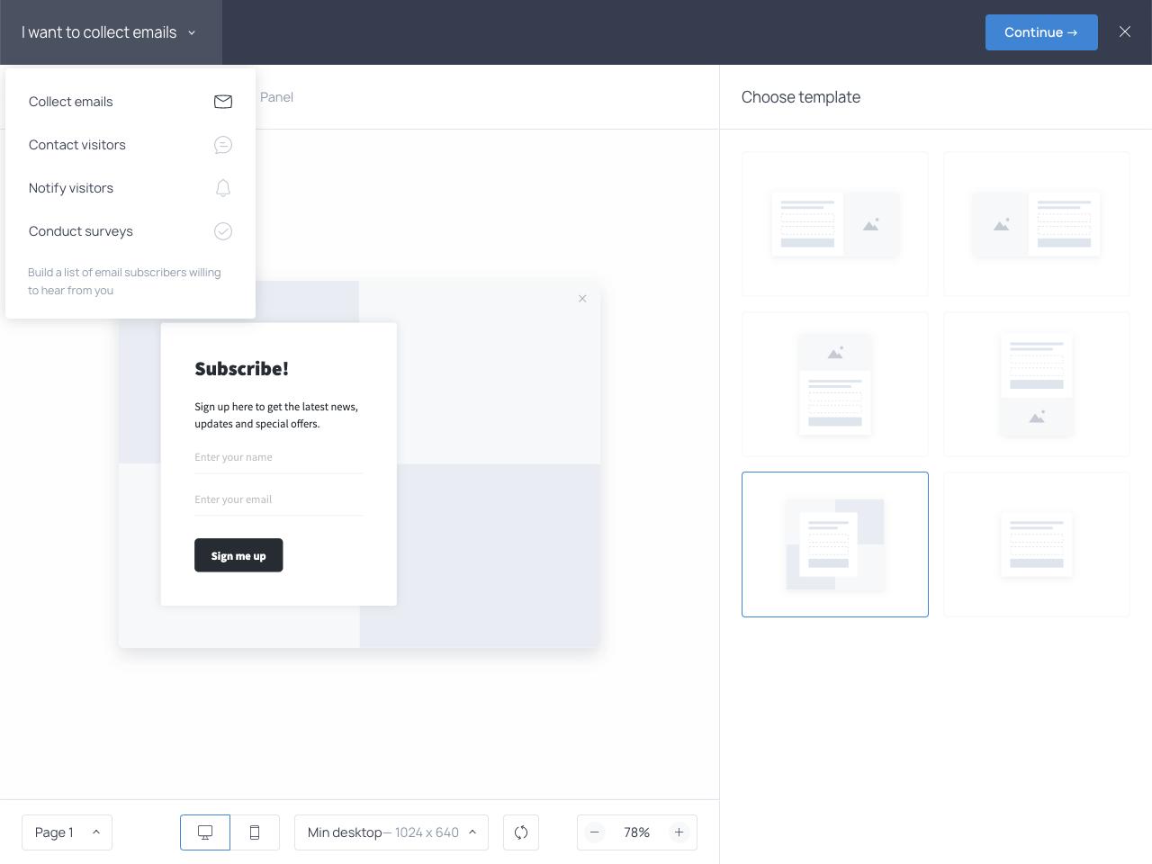 Slecting the widget type from the dropdown menu in the Getsitecontrol admin dashboard