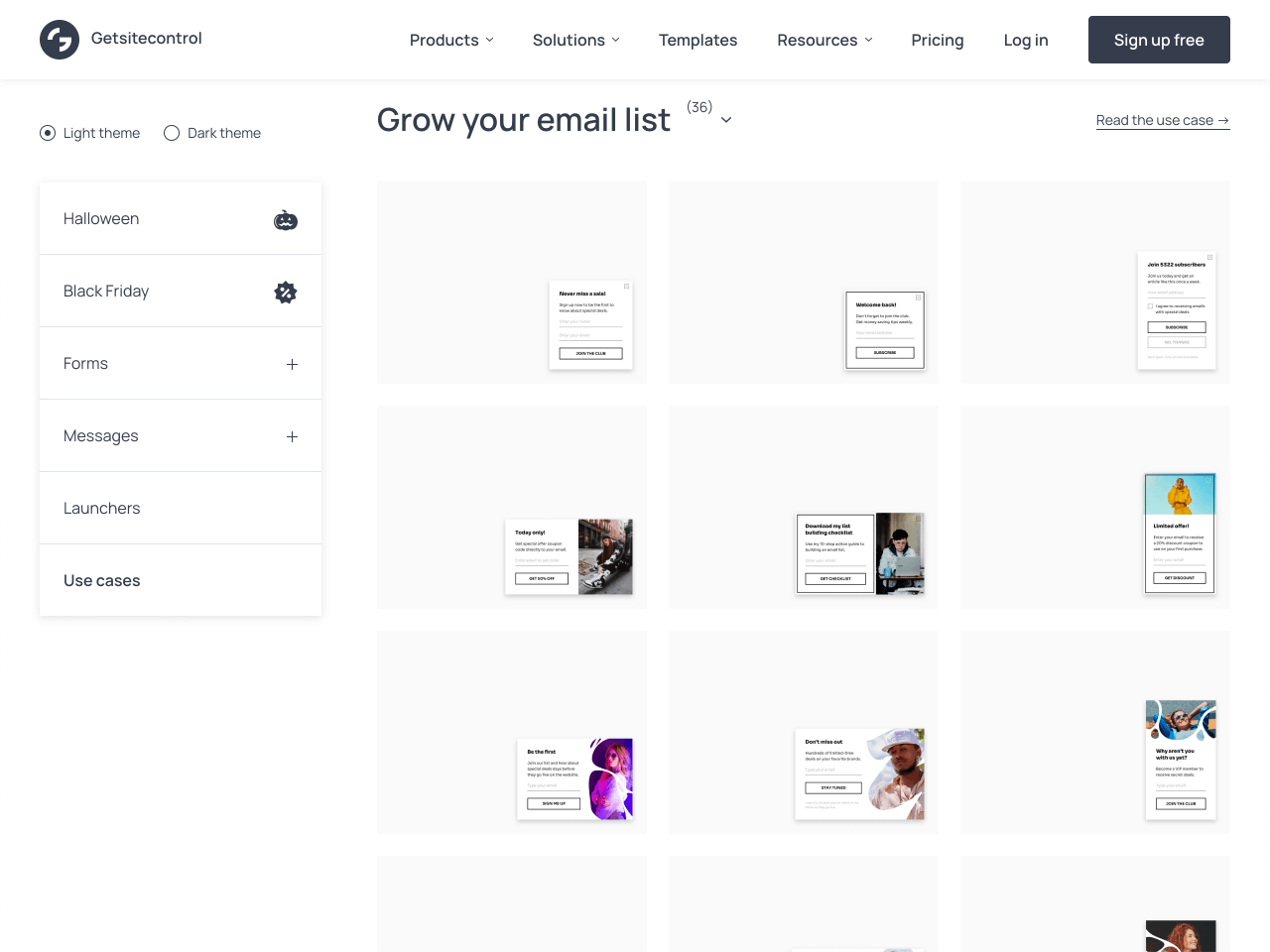 The Getsitecontrol gallery of email opt-in popups