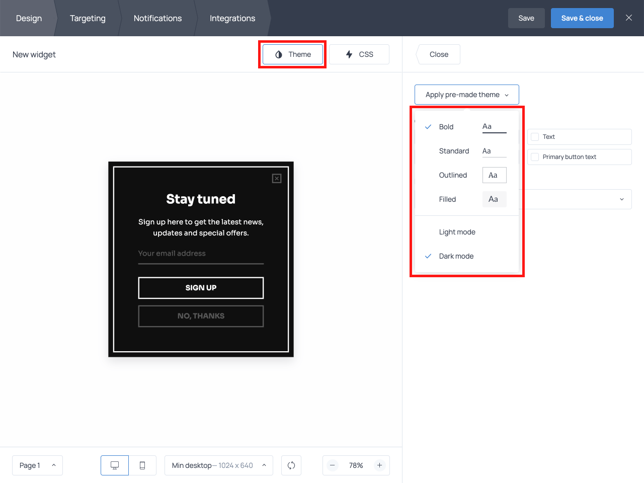 How to adjust the design of an email opt-in popup